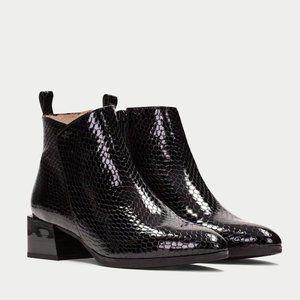 Hispanitas Black Patent Python Alpes Ankle Boot
